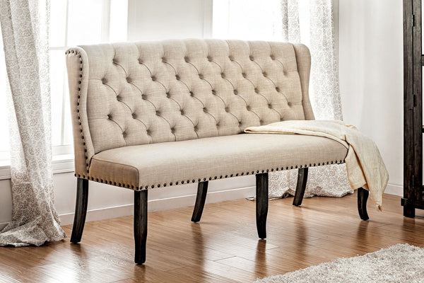 Sania I - 3-Seater Loveseat Bench - Antique Black