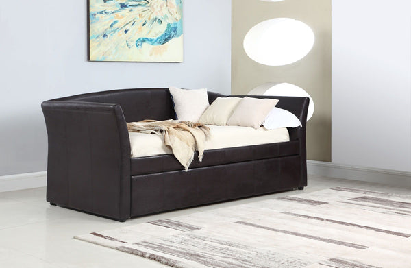 Twin Daybed With Trundle - Dark Brown - Transitional Dark Brown Upholstered Daybed Box One