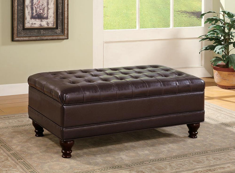 Brown - Tufted Storage Ottoman With Turned Legs Brown