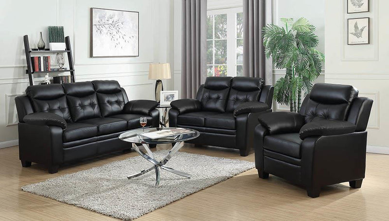 Black - Finley Tufted Upholstered Loveseat Black