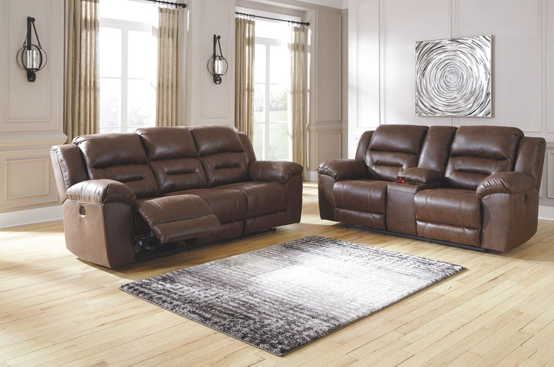Stoneland - Chocolate - REC PWR Sofa & DBL REC PWR Loveseat with Console