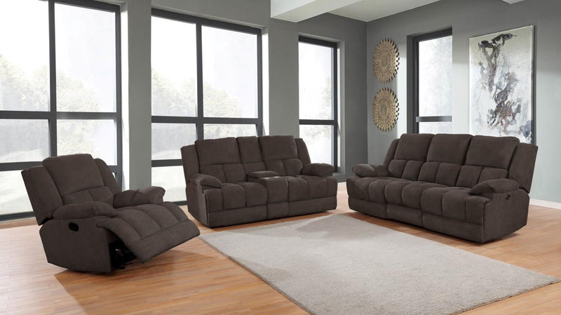 Brown - Waterbury Upholstered Motion Loveseat With Console Brown