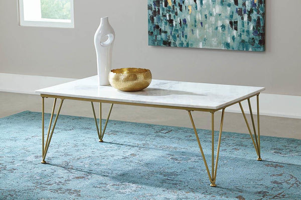 Rectangular Coffee Table White And Polished Brass