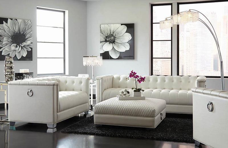 Chaviano Collection - Pearl White - Chaviano Tufted Upholstered Loveseat Pearl White