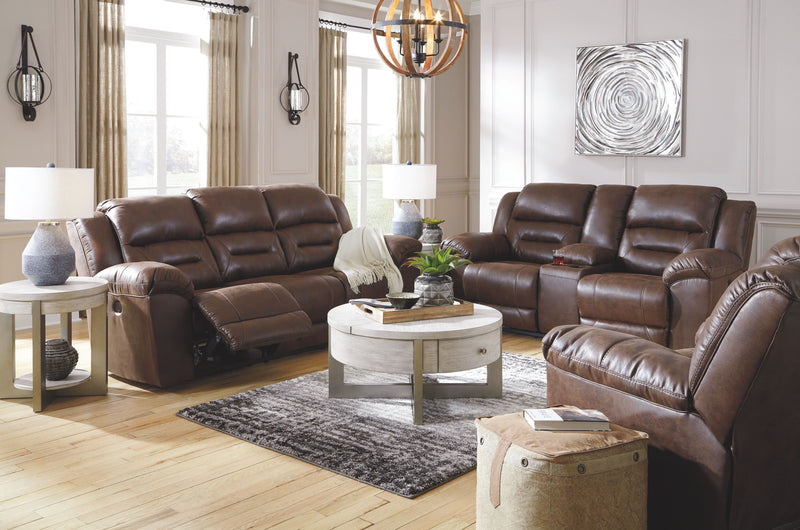 Stoneland - Chocolate - REC Sofa, DBL REC Loveseat with Console & Rocker Recliner