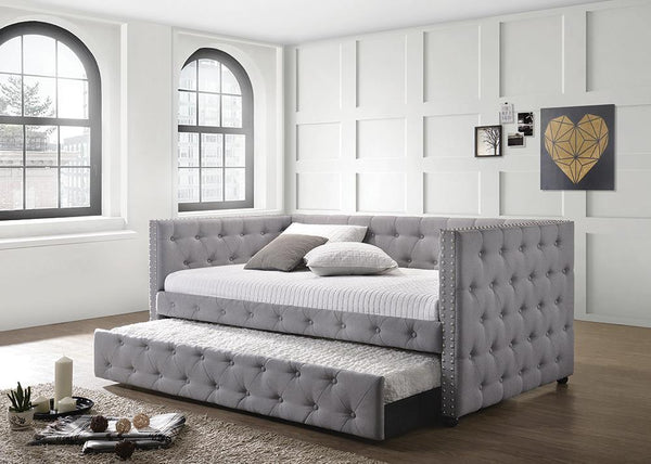 Mockern Daybed - Grey - Mockern Tufted Upholstered Daybed With Trundle Grey