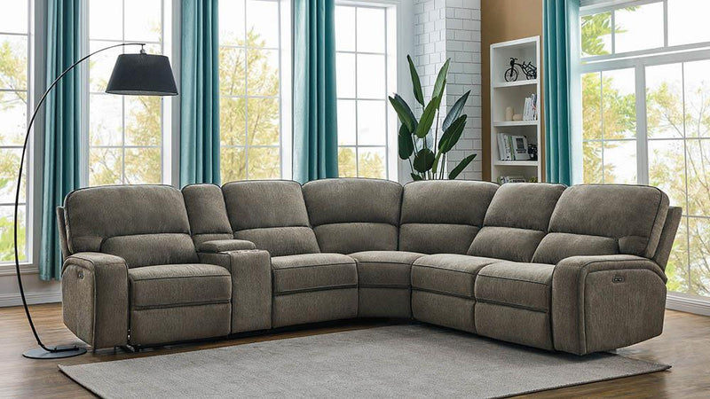Dundee Motion Collection - Beige - Dundee 6-piece Power^2 Sectional Beige