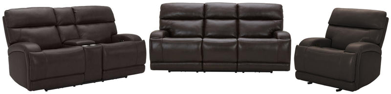Dark Brown - Longport Upholstered Power Loveseat With Console Dark Brown