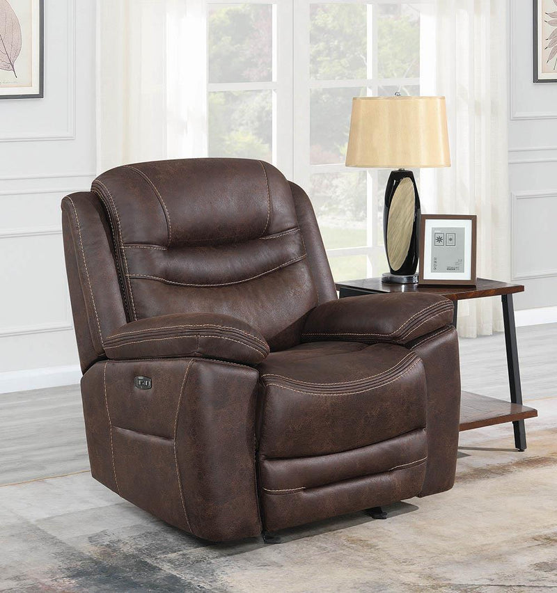 Hemer Motion Collection - Chocolate - Hemer Upholstered Power^2 Recliner Chocolate