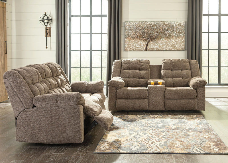 Workhorse - Cocoa - REC Sofa & DBL REC Loveseat with Console