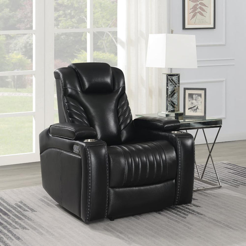 Black - Bismark Power^2 Recliner With Storage Armrest Black