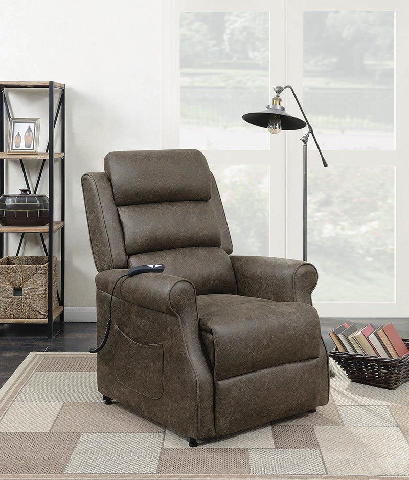 Living Room : Power Lift Recliner - Brown - Upholstered Power Lift Recliner Brown