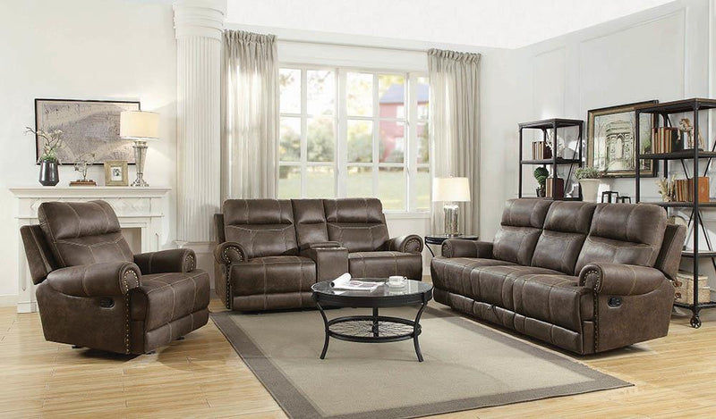 Brixton Motion Collection - Buckskin Brown - Brixton Glider Loveseat With Cup Holders Buckskin Brown