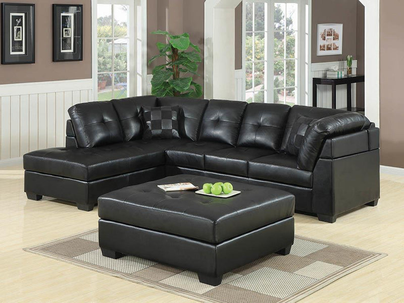 Darie Sectional - Black - Darie Square Tufted Ottoman Black