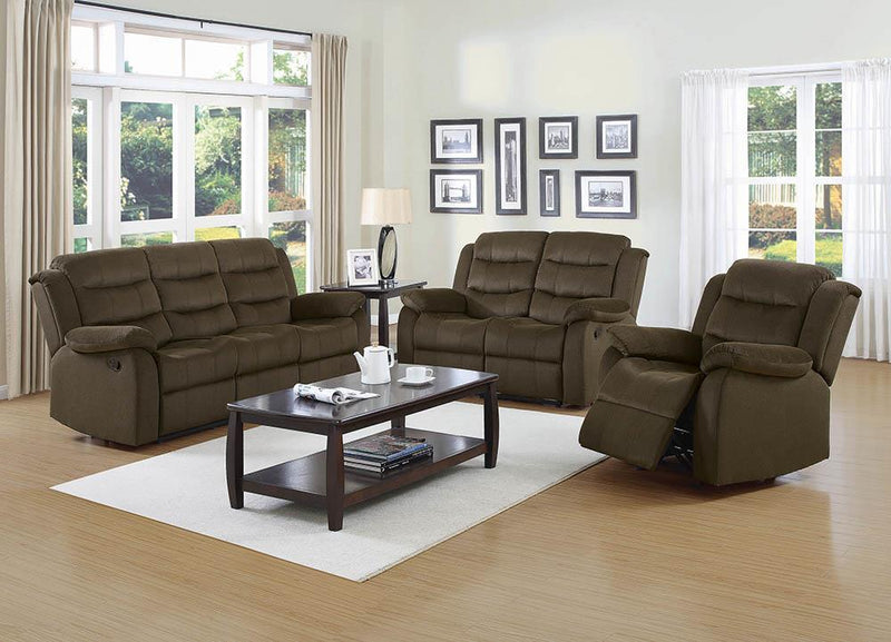 Rodman Motion Collection - Olive Brown - Rodman Pillow Top Arm Motion Loveseat Olive Brown