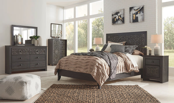 Paxberry - Black - 5 Pc. - Dresser, Mirror, Dressing Chest & Queen Panel Bed