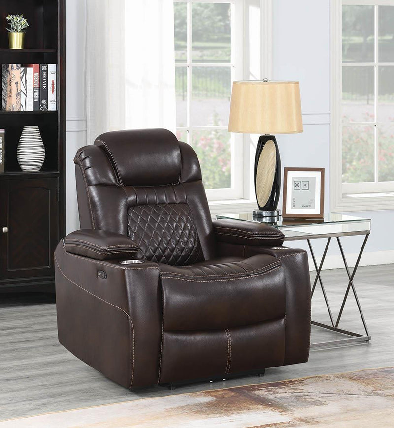 Korbach Motion Collection - Espresso - Korbach Upholstered Power^2 Recliner Espresso