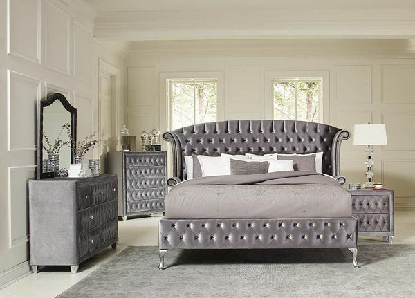 Deanna Bedroom Collection - Grey - Deanna California King Tufted Upholstered Bed Grey