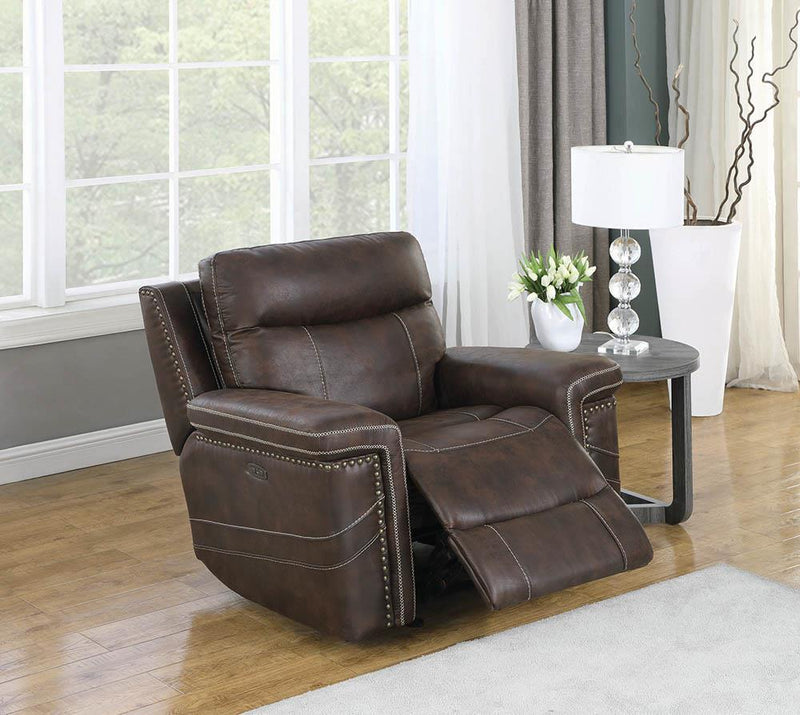 Wixom Motion Collection - Brown - Wixom Power^2 Glider Recliner Brown