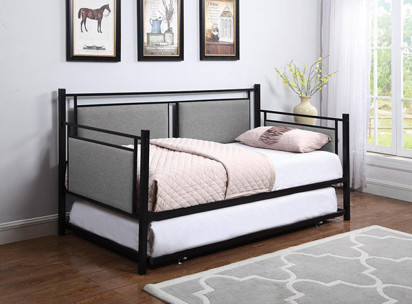 Joelle Daybed - Grey - Joelle Upholstered Daybed Grey And Black With Trundle