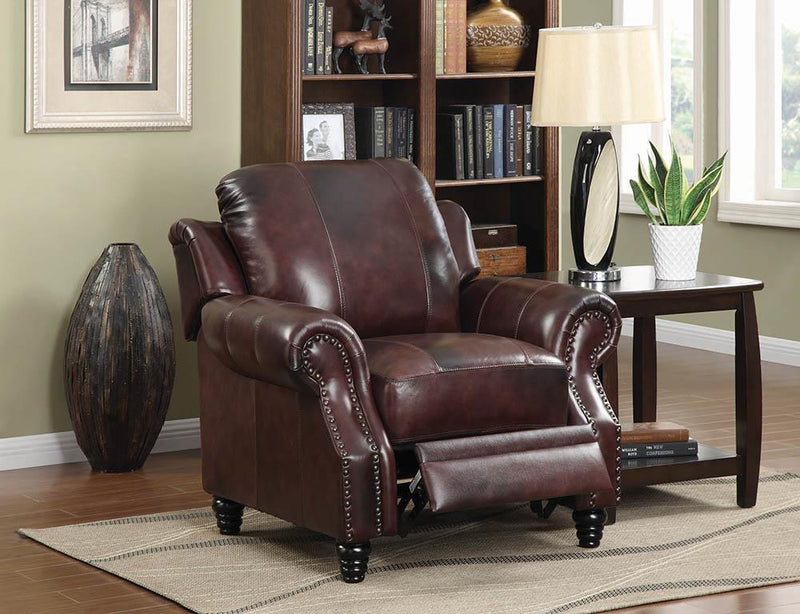 Princeton Collection - Burgundy - Princeton Rolled Arm Push Back Recliner Burgundy