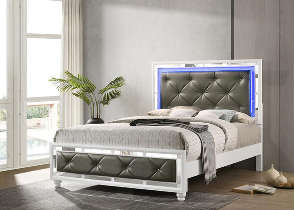 Whitaker Collection - Metallic - Whitaker Queen Bed With Led Lighting White