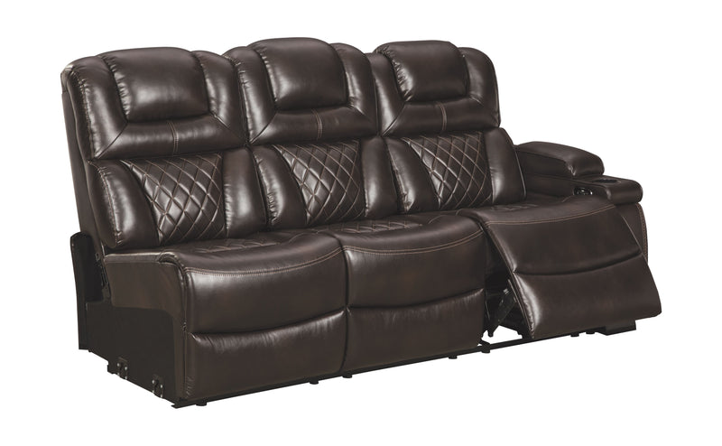 Warnerton - Chocolate - RAF REC Power Sofa w/Console