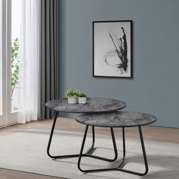 Lennox 2-piece Round Coffee Table Set Faux Slate And Matte Black