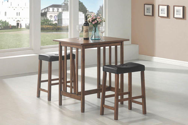Packaged Sets: 3 Pc Set - Black - 3-piece Counter Height Set Nut Brown