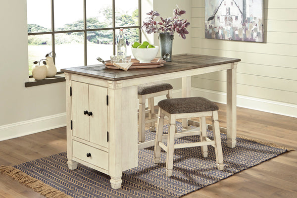 Bolanburg - Two-tone - 3 Pc. - RECT DRM Counter Table & 2 UPH Stools