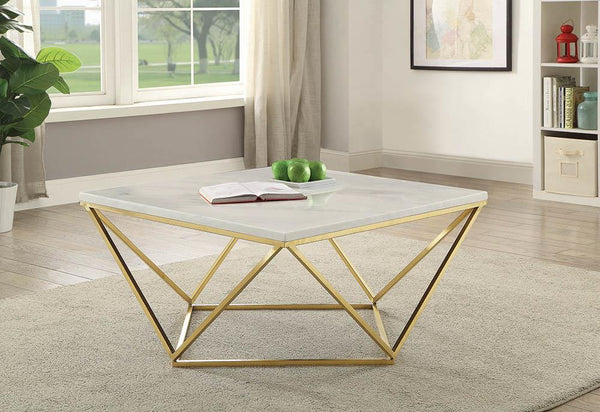 Square Coffee Table White And Gold