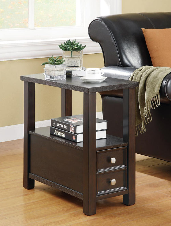 Chairside Table With Storage Drawers Cappuccino