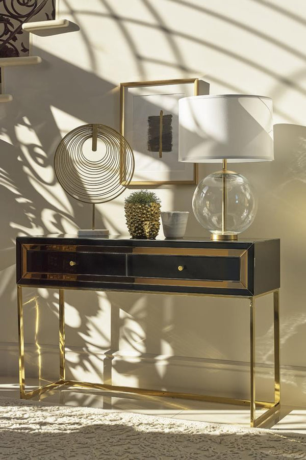2-drawer Console Table Black And Gold