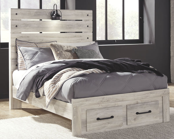 Cambeck - Whitewash - Full Panel Bed with 2 Storage Drawers