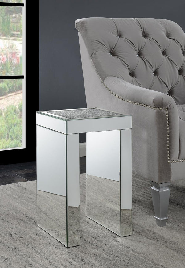 Square Chairside Table Clear Mirror