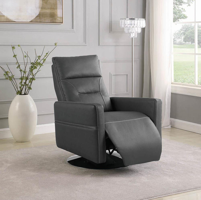 Living Room : Power Recliner - Grey - Round-base Push Back Swivel Recliner Grey