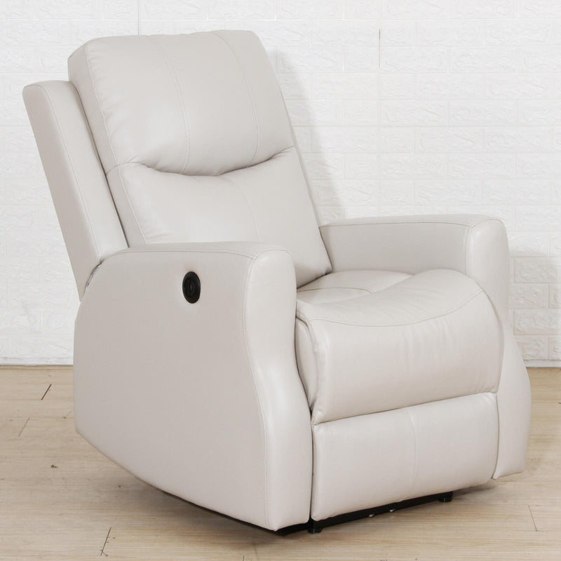 Beige - Upholstered Power Recliner With Usb Port Beige