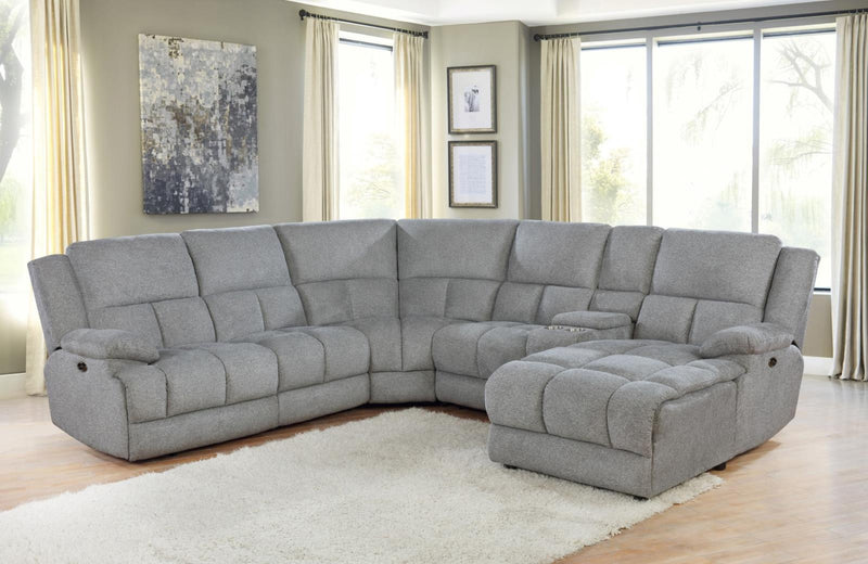 Grey - Belize 6-piece Pillow Top Arm Motion Sectional Grey