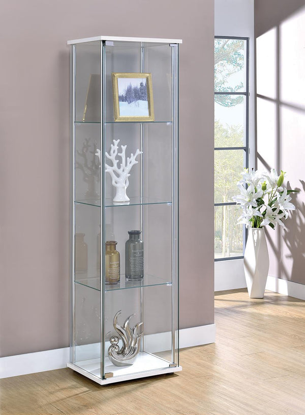 Rectangular 4-shelf Curio Cabinet White And Clear