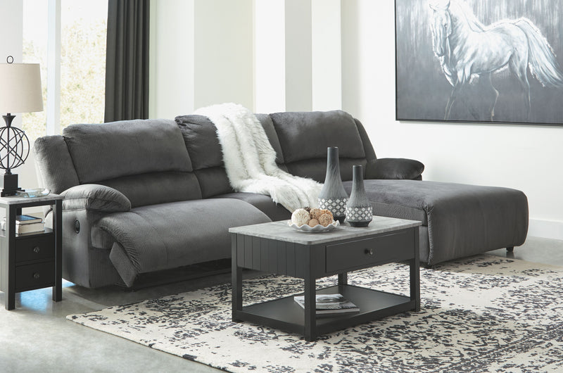 Clonmel - Charcoal - LAF Zero Wall Recliner, Armless Chair & RAF Press Back Chaise Sectional