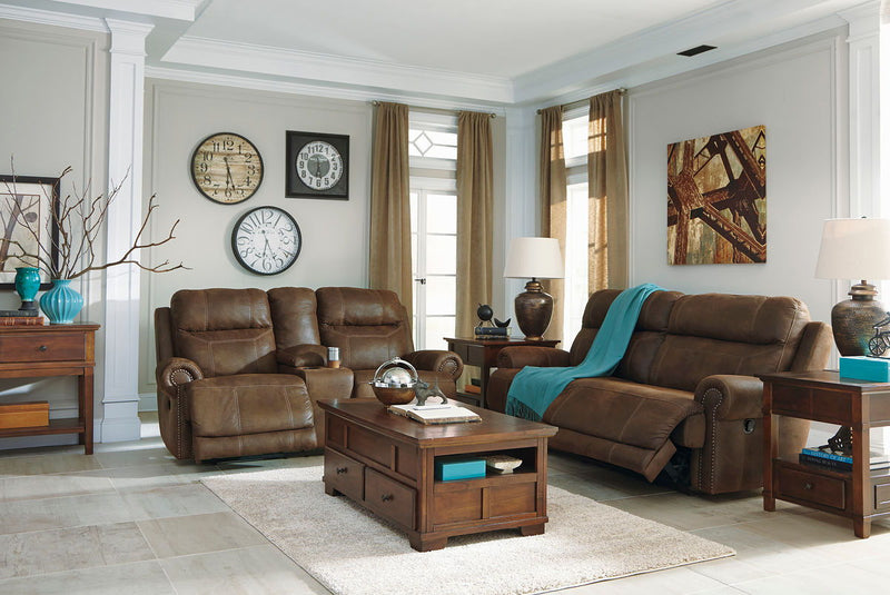 Austere - Brown - 2 Seat REC Sofa, DBL REC Loveseat with Console, Gately Lift Top Cocktail Table, 2 End Tables & Sofa Table