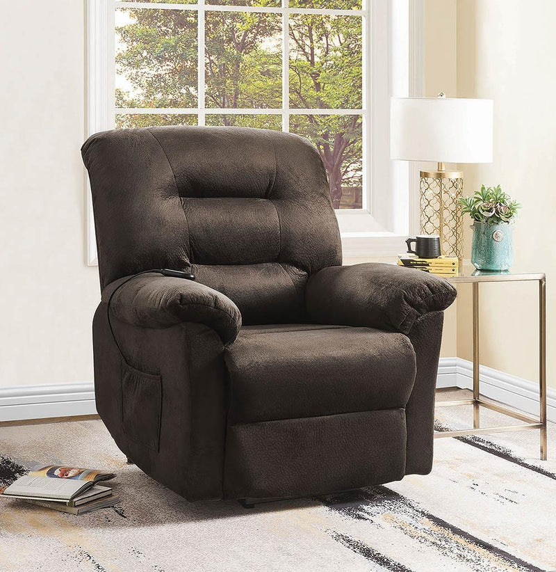 Living Room : Power Lift Recliner - Chocolate - Upholstered Power Lift Recliner Chocolate