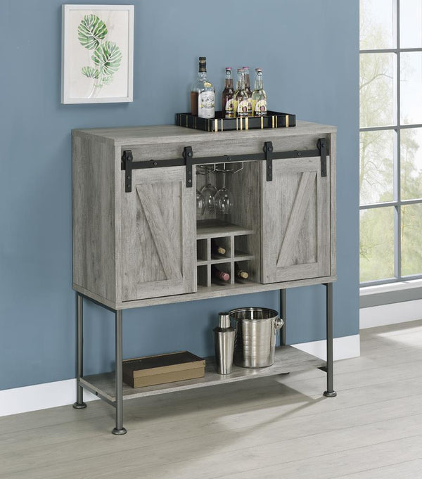 Sliding Door Bar Cabinet With Lower Shelf Grey Driftwood