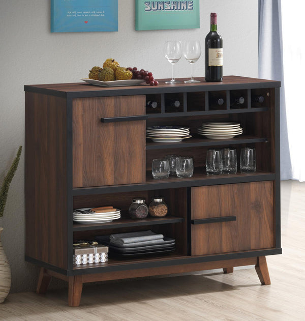 Rec Room | Bar Units - Wine Cabinet With 2 Sliding Doors Walnut And Black