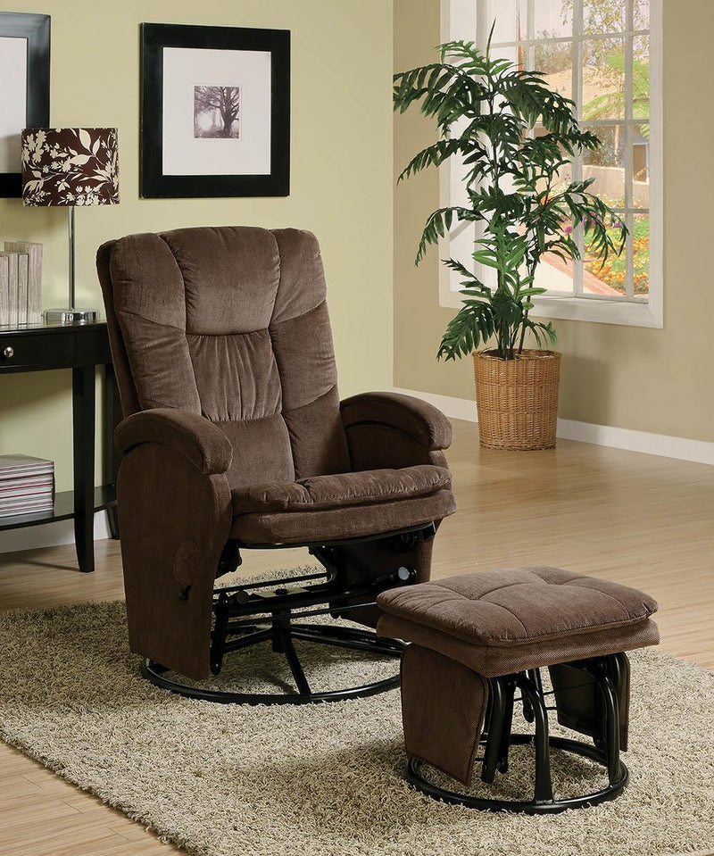 Living Room : Gliders - Chocolate - Swivel Glider Recliner With Ottoman Chocolate And Black