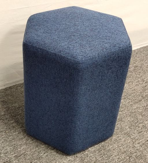 Dark Blue - Hexagonal Upholstered Stool Blue