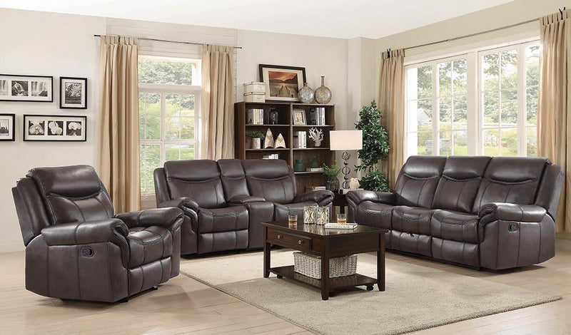 Sawyer Motion Collection - Cocoa - Sawyer Glider Loveseat With Console Cocoa