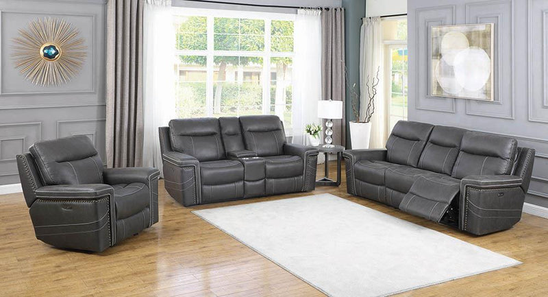 Wixom Motion Collection - Charcoal - Wixom 1-drawer Power^2 Loveseat With Console Charcoal