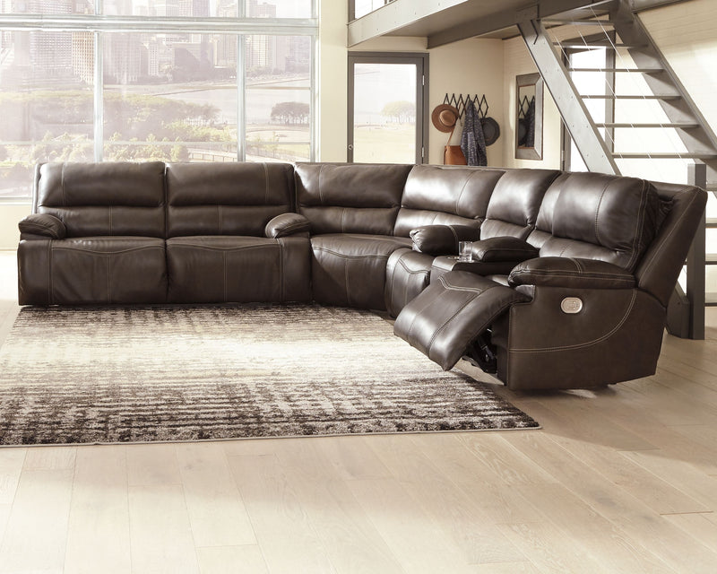 Ricmen - Walnut - 2 Seat PWR REC Sofa ADJ HDRST, Wedge & PWR REC Loveseat with ADJ HDRST Sectional