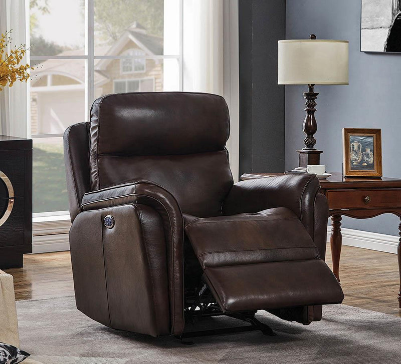 Living Room : Power Recliner - Dark Brown - Pillow Top Arms Upholstered Power^3 Glider Recliner Dark Brown
